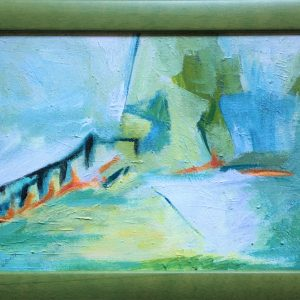 Abstract painting of fence