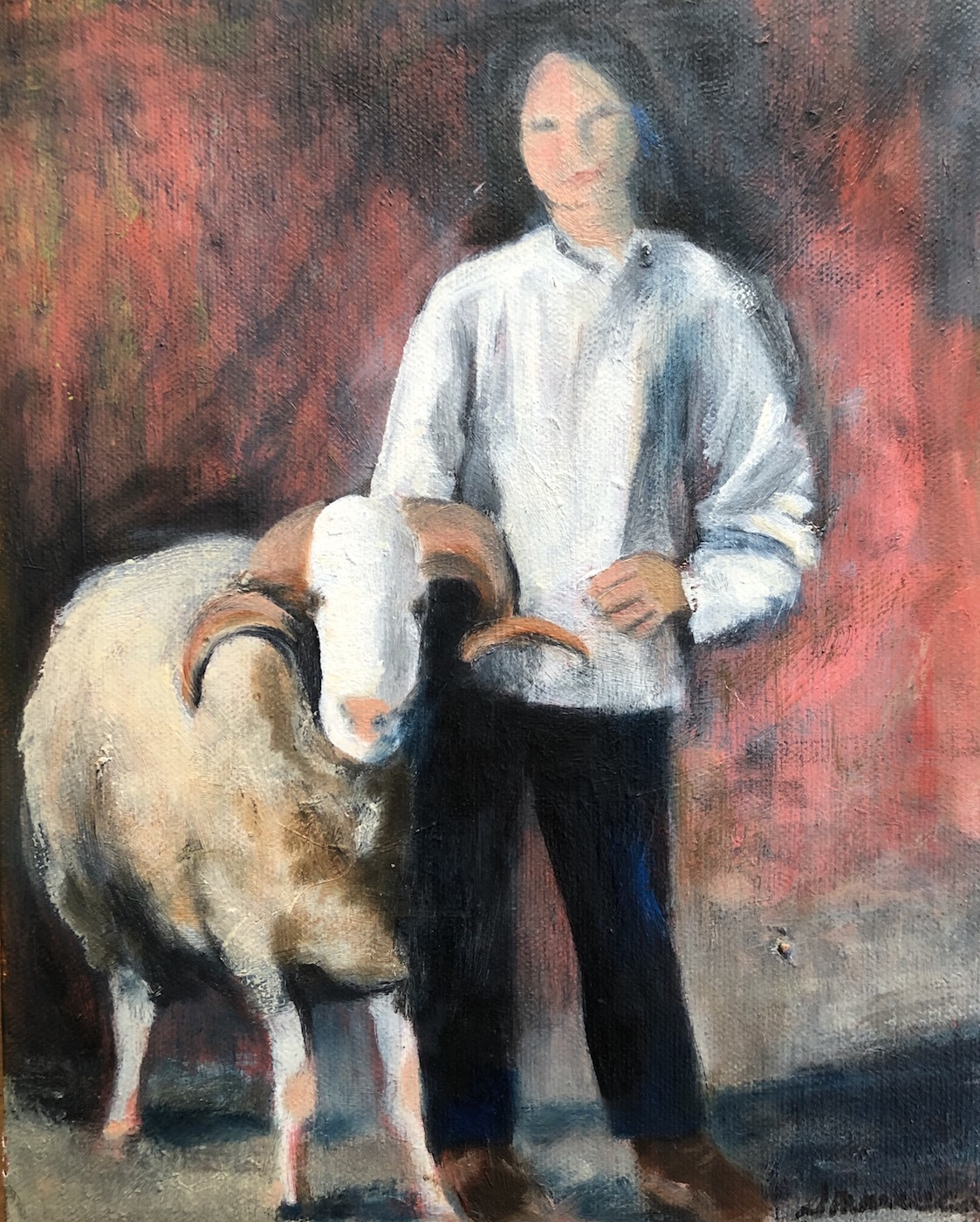 Painting of woman and ram