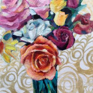 Acrylic painting of red, yellow and pink roses