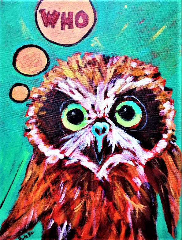 painting, close up of colorful owl