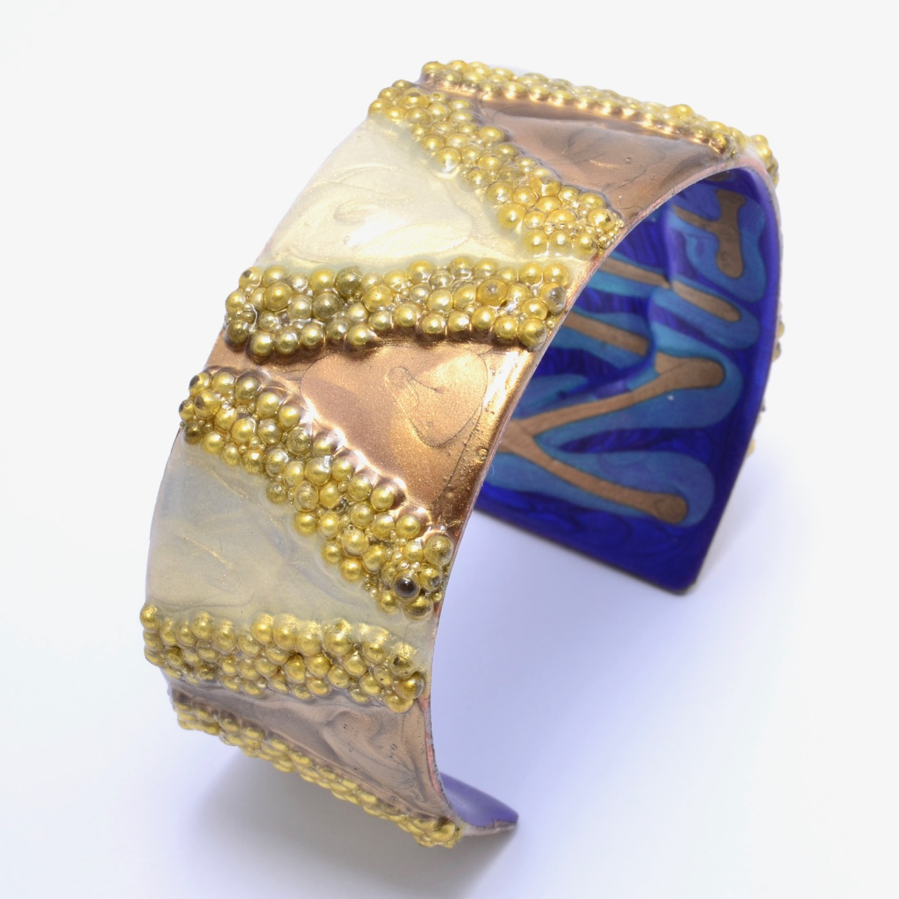 Copper Cuff with Gold Glass Beads