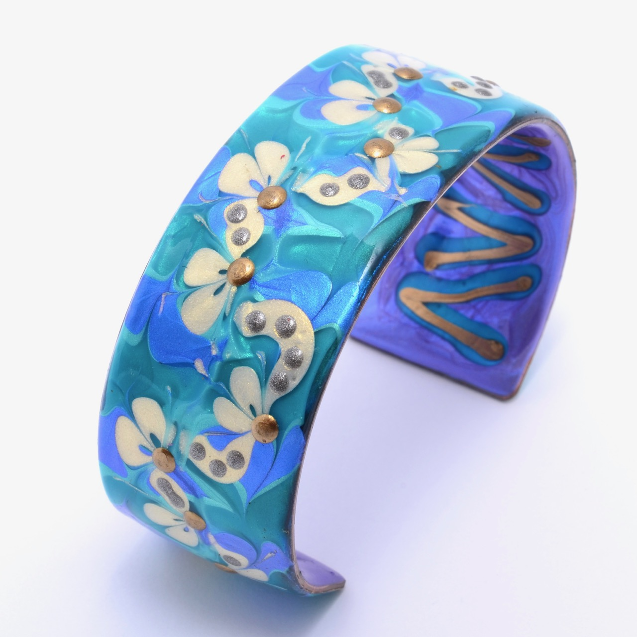Copper Cuff - White Flowers on Blue