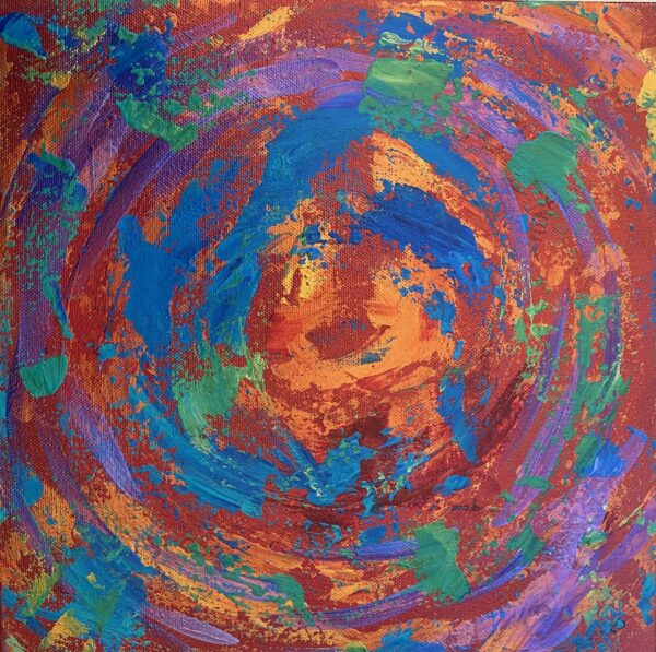 Abstract painting orange red blue acrylic on canvas