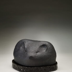 hog made with black stoneware clay