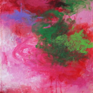 acrylic on canvas painting reds, pinks, green
