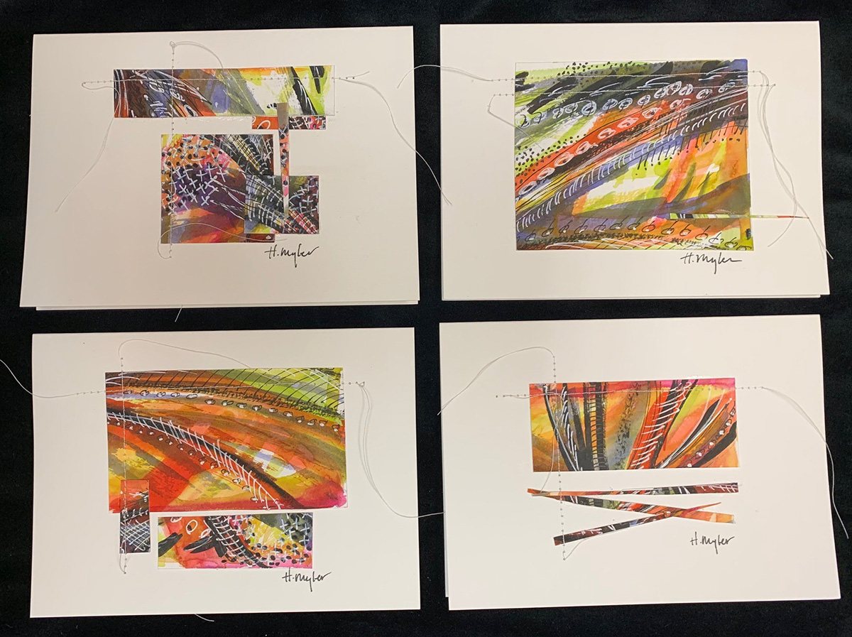 hand made cards set of 4